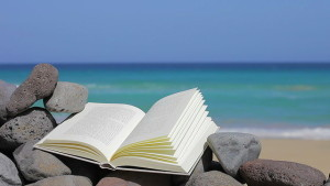 book on the beach with sea on background